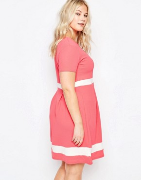photo Plus Size Skater Dress with Contrast Band by Praslin, color Coral - Image 2