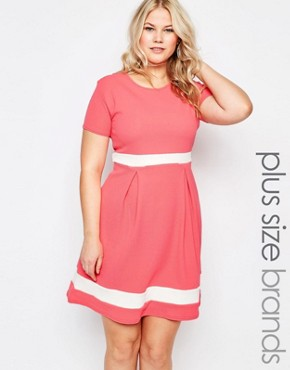 photo Plus Size Skater Dress with Contrast Band by Praslin, color Coral - Image 1