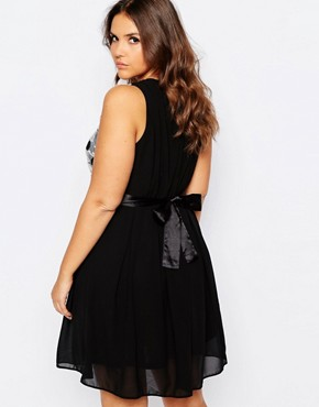 photo Plus Size Skater Dress with Embroidered Top by Praslin, color Black - Image 2