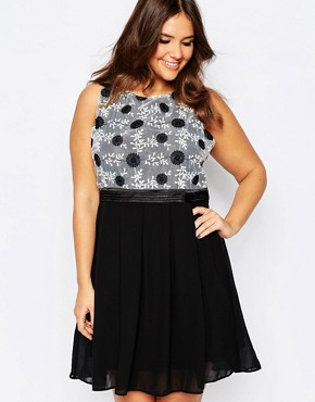 photo Plus Size Skater Dress with Embroidered Top by Praslin, color Black - Image 1