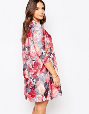 photo Plus Size Swing Dress In Artistic Floral Print by Praslin, color Multi - Image 2