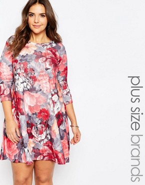 photo Plus Size Swing Dress In Artistic Floral Print by Praslin, color Multi - Image 1