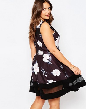 photo Skater Dress In Floral Print with Mesh Inserts by Praslin Plus, color Black Floral - Image 2