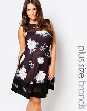 photo Skater Dress In Floral Print with Mesh Inserts by Praslin Plus, color Black Floral - Image 1
