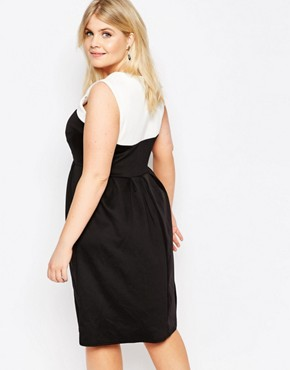 photo Skater Dress with Contrast Top by Praslin Plus, color Cream Black - Image 2