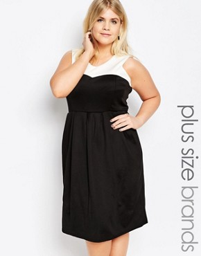 photo Skater Dress with Contrast Top by Praslin Plus, color Cream Black - Image 1