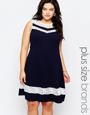 photo Skater Dress with Lace Inserts by Praslin Plus, color Navy - Image 1