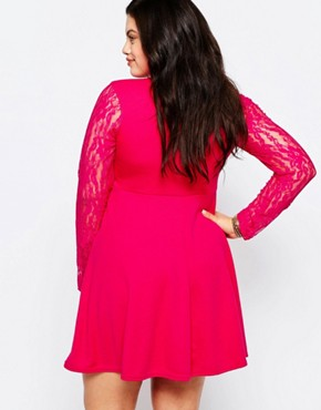 photo Skater Dress with Lace Sleeves by Praslin Plus, color Fuschia - Image 2