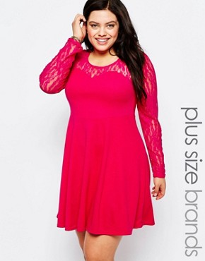photo Skater Dress with Lace Sleeves by Praslin Plus, color Fuschia - Image 1