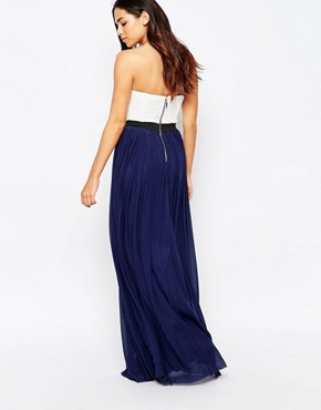 photo Bandeau Maxi Dress with Contrast Skirt by Rare, color Cream Navy - Image 2