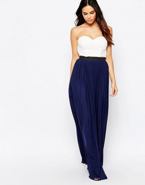 photo Bandeau Maxi Dress with Contrast Skirt by Rare, color Cream Navy - Image 1