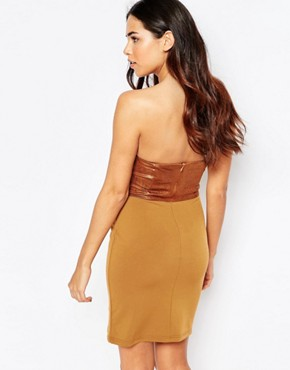 photo Faux Leather Belted Bandeau Mini Dress by Rare, color Brown - Image 2