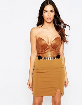 photo Faux Leather Belted Bandeau Mini Dress by Rare, color Brown - Image 1