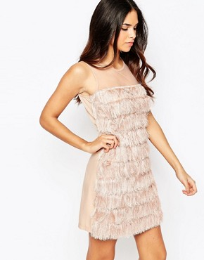 photo Fringed Shift Dress by Rare, color Blush Pink - Image 1
