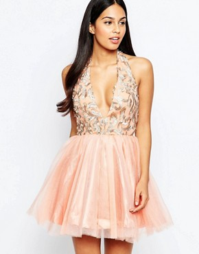 photo Organza Dress with Plunge Neck by Rare Opulence, color Pink - Image 1