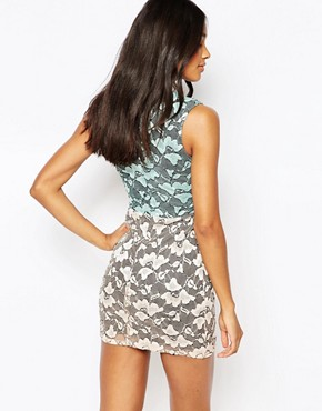 photo Plunge Dress in Two Colour Lace by Rare, color Mint Blush - Image 2