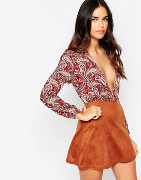 photo Plunge Dress with Faux Suede Skirt by Rare, color Multi - Image 1