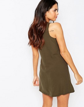 photo Shift Dress with Military Detail by Rare, color Khaki - Image 2