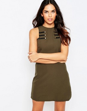 photo Shift Dress with Military Detail by Rare, color Khaki - Image 1