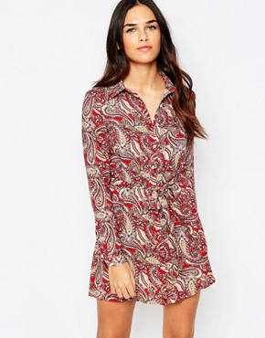 photo Shirt Dress in Paisley Print by Rare, color Red - Image 1