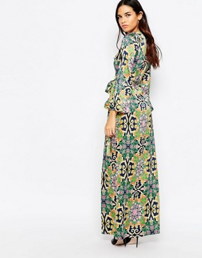 photo Wrap Maxi Dress with Split in Baroque Print by Rare, color Multi - Image 2