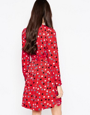 photo Dress In Heart Print with Tie Waist by See by Chloe, color Red - Image 2