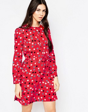 photo Dress In Heart Print with Tie Waist by See by Chloe, color Red - Image 1