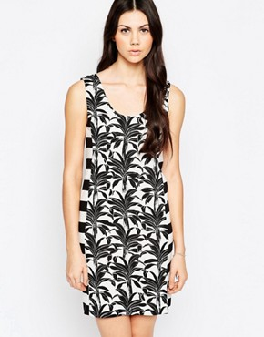 photo T-shirt Dress In Palm and Stripe Print by See by Chloe, color Black and White - Image 1