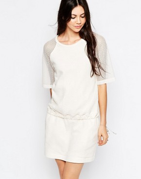 photo Textured Dress with Elasticated Waist by See by Chloe, color White - Image 1