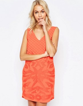 photo Beaded and Embroidered Shift Dress by See U Soon, color Orange - Image 1