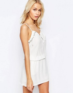 photo Lace Up Dress with Embellished Trim Detail by See U Soon, color Off White - Image 1