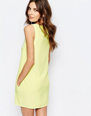photo Shift Dress with Eyelash Lace Insert by See U Soon, color Yellow - Image 2