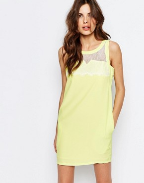photo Shift Dress with Eyelash Lace Insert by See U Soon, color Yellow - Image 1