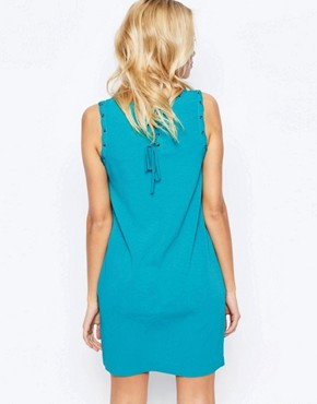 photo Shift Dress with Lacing Detail and Pockets by See U Soon, color Blue - Image 2