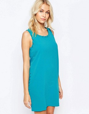 photo Shift Dress with Lacing Detail and Pockets by See U Soon, color Blue - Image 1