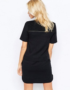photo Shift Shirt Dress with Metallic Piping Detail by See U Soon, color Black - Image 2
