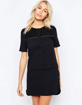 photo Shift Shirt Dress with Metallic Piping Detail by See U Soon, color Black - Image 1