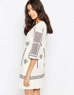 photo Tunic Dress with Cross Stitch Embroidery by See U Soon, color Purple - Image 2