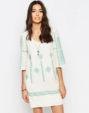 photo Tunic Dress with Cross Stitch Embroidery by See U Soon, color Green - Image 1