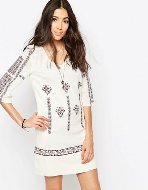 photo Tunic Dress with Cross Stitch Embroidery by See U Soon, color Purple - Image 1
