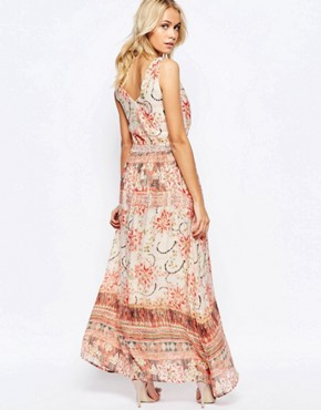 photo Zip Front Maxi Dress in Washed Out Print by See U Soon, color Red - Image 2