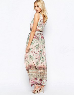 photo Zip Front Maxi Dress in Washed Out Print by See U Soon, color Green - Image 2