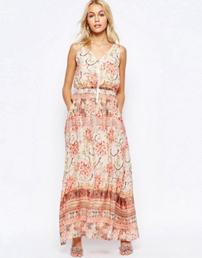 photo Zip Front Maxi Dress in Washed Out Print by See U Soon, color Red - Image 1