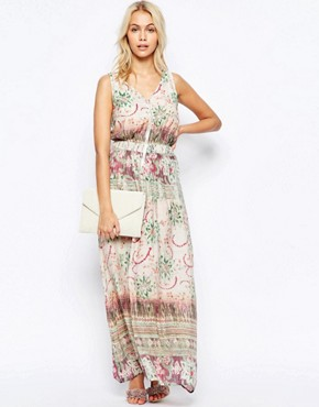 photo Zip Front Maxi Dress in Washed Out Print by See U Soon, color Green - Image 1