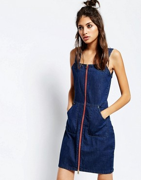 photo Zip Through A-Line Dress by See You Never Denim, color Blue - Image 1