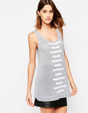 photo Linear Pattern Knitted Vest Dress by Shae, color Black White Combo - Image 1