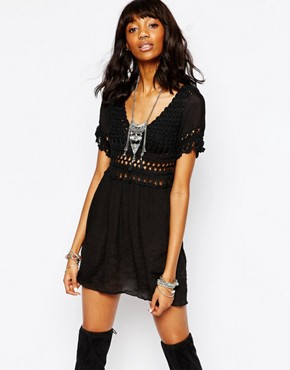 photo Stitch & Pieces Crochet Top Dress, color Black - Image 1