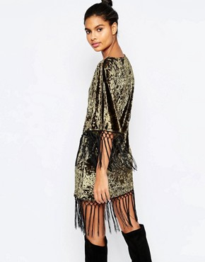 photo Velvet Wrap Front Kimono Dress with Tassel Detail by Story Of Lola, color Green - Image 2