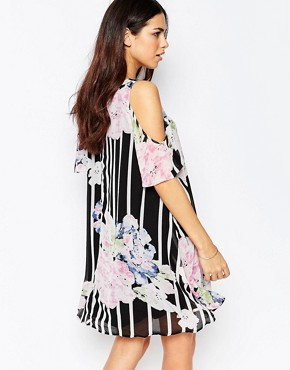 photo Cold Shoulder Dress In Floral Stripe Print by Style London, color Black - Image 2