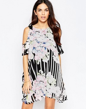 photo Cold Shoulder Dress In Floral Stripe Print by Style London, color Black - Image 1